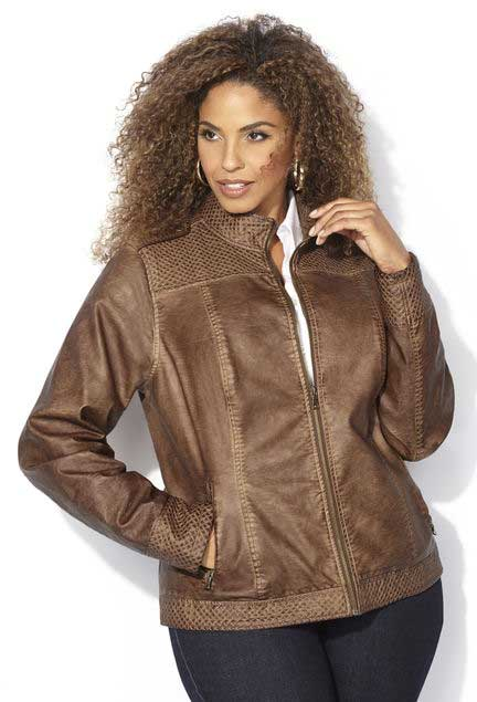 Plus size leather jacket