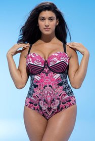Swim Sexy Women's Plus Size Mastermind Baroque Underwire Swimsuit 18 Multi