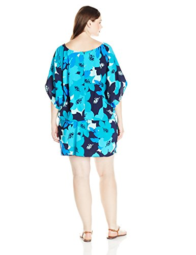 Anne Cole Women's Plus Size Full Bloom Kangaroo Pouch Caftan Cover up, Nvpr, 14/16