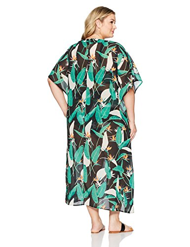 Coastal Blue Women's Plus Size Swimwear Lace up Front Maxi Cover up, Black Jungle Print, 2X (20W-22W)