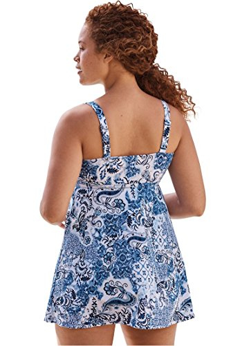 Woman Within Women's Plus Size 2-Piece, Loop Strap Swimdress Navy Floral,32