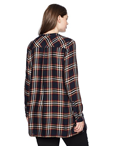 Junarose Women's Plus Size Long Sleeve Plaid Tunic, Navy Blazer, 24