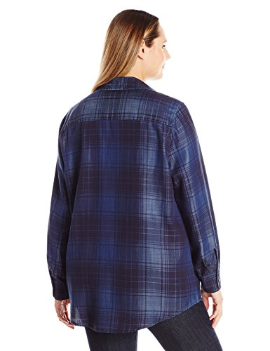 Foxcroft Women's Plus Size Long Sleeve Tartan Denim Tencel Tunic, Indigo, 20W