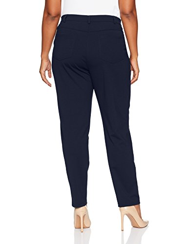 Ruby Rd. Women's Plus Size Fly Front Stretch Ponte Legging Pant, Navy, 1X