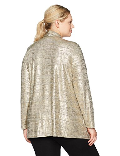Ruby Rd. Women's Plus Size Brushed Foil Printed Heather Jersey 2-fer Twinset, Gold Combo, 1X