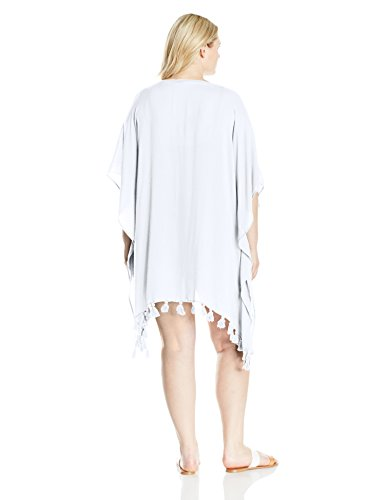 BECCA ETC Women's Plus Size Wanderer Light and Airy Woven Tunic Cover up, White, 2X/3X