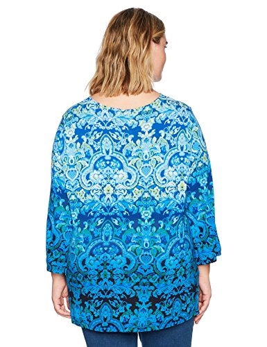 Ruby Rd. Women's Plus Size Rococo Ombre Border Printed Knit Top With Tassels, Bright Blue/Multi, 2X