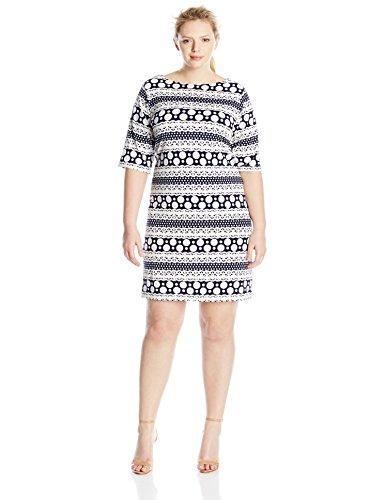 Tiana B Women's Plus-Size Puff Printed Knit Shift Dress With Elbow Sleeves, Navy/White, 20W