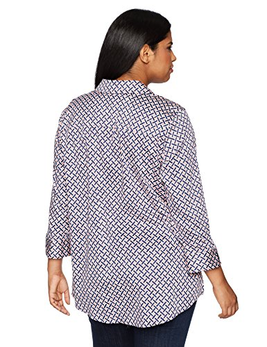 Foxcroft Women's Plus Size Faith Painted Geo Wrinkle Free Tunic, Navy Multi, 18W