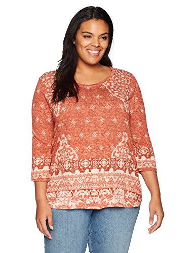 Lucky Brand Women's Plus Size Rug Print Tee, Red/Multi, 2X