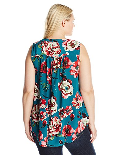 Lucky Brand Women's Plus Size Green Floral Tank Top, Green/Multi, 3X