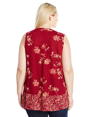 Lucky Brand Women's Plus Size Paisley Border Tank Top, Burgundy/Multi, 2X