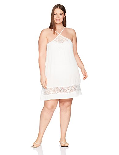 BECCA ETC Women's Plus Size Poetic Lace Front Dress Cover up, White, 1X