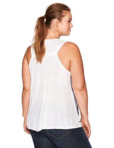 Lucky Brand Women's Plus Size Embroidered Floral Tank Top, Natural Multi, 2X