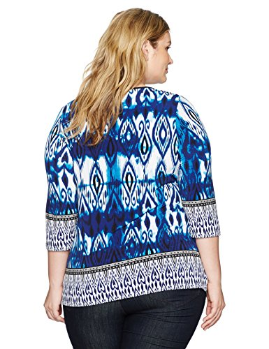 Jones New York Women's Plus Size Moroccan Ikat Prt 3/4 Slv Tunic, Indigo Combo, 2X