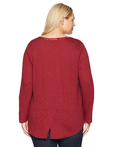 Lucky Brand Women's Plus Size Printed Henley Top, Red Multi, 2X