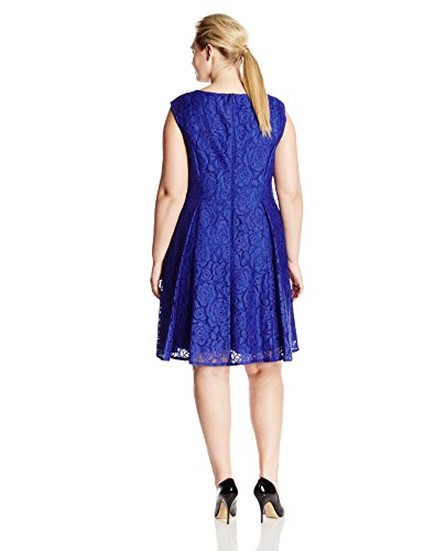 Adrianna Papell Women's Plus-Size A-Line Extended Shoulder Lace V Neck Dress, Iris, 18W