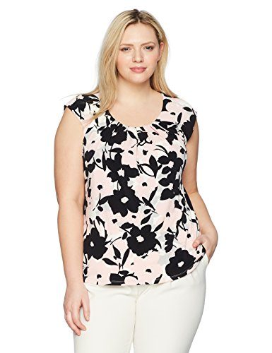 Kasper Women's Plus Size Floral Extend Cap Sleeve Pleat Neck Ity Top, Blossom Multi, 3X