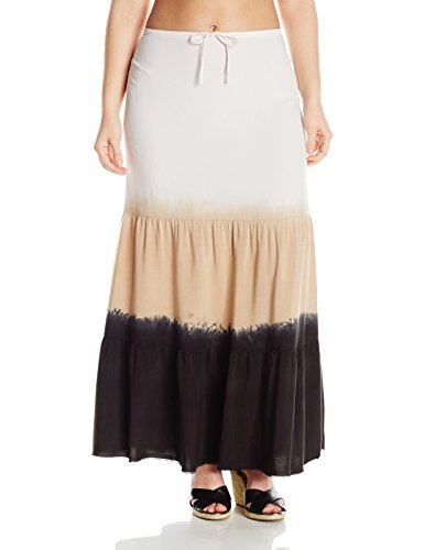 BECCA ETC Women's Plus-Size Dusk To Dawn Dip Dyed Cover Up Skirt with Fringe Hem and Draw Cord, Black, 0X