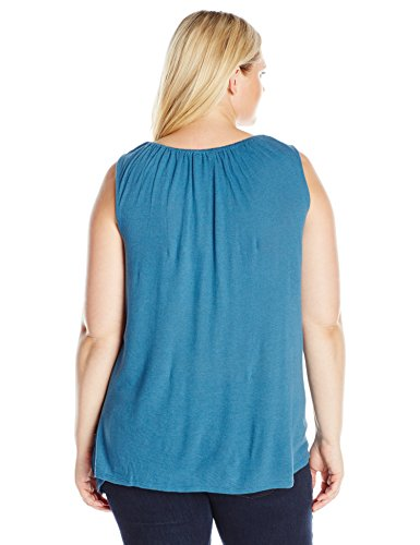 Lucky Brand Women's Plus-Size Soutache Embroidered Tank Top, Blue/Multi, 2X