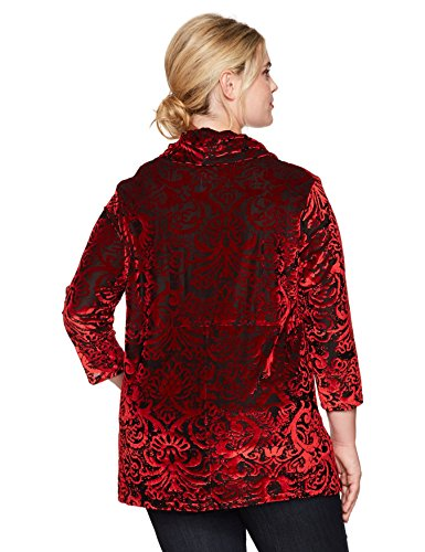 Ruby Rd. Women's Plus Size Cowl-Neck Ikat Burnout Velvet Top with Sharkbite Hem, Black/Red, 1X