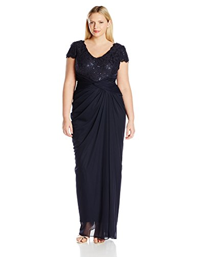 Adrianna Papell Women's Plus Size Cap Sleeve Sequin and Lace Bodice Draped Gown, Ink, 18W