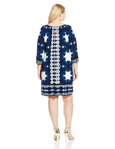 London Times Women's Plus-Size Border Print Tunic Jersey Shift with Front Tie, Blue, 14W