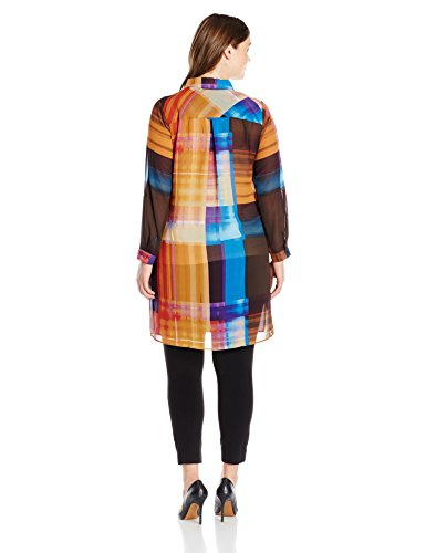 NY Collection Women's Plus Size Long Sleeve Roll up to 3/4 Sleeve Printed Duster Blouse with Pointed Collar, Warm Stain Glass, 2X