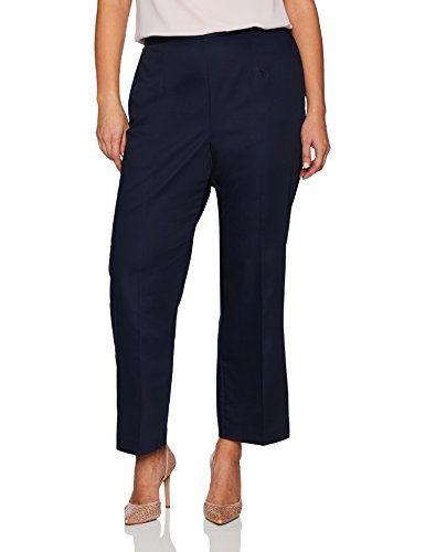 Alfred Dunner Women's Plus Size Short Pant Clean Front Back Elastic Fit, Navy, 16W