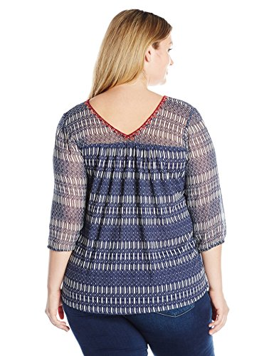 Lucky Brand Women's Plus Size Printed Woven Mix Top, Blue/Multi, 2X