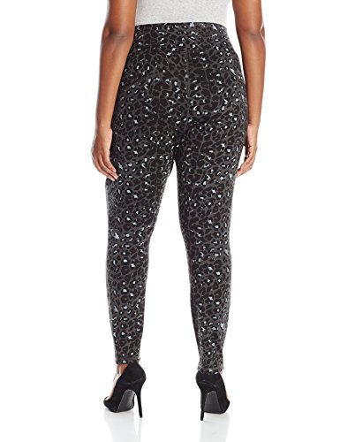Melissa McCarthy Seven7 Women's Plus-Size Pull On Ponte Pant, Leopard Print Charcoal Ground, 4X