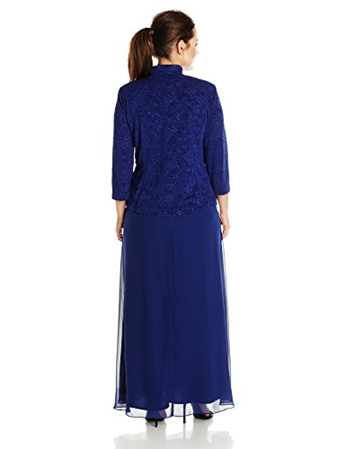 Alex Evenings Women's Plus-Size Gown and Mandarin Jacket Set, Electric Blue, 18W