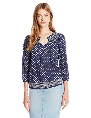 Lucky Brand Women's Plus Size Ditsy Geo Top, Blue/Multi, 1X