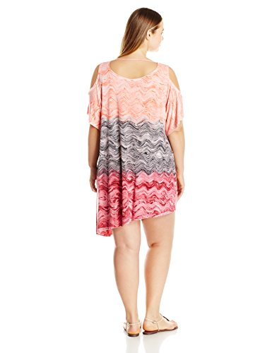 BECCA ETC Women's Plus Size Cosmic Hand Dyed Marble Effect Cold Shoulder Cover up Dress, Persimmon, 1X