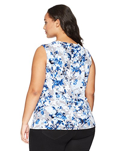 Calvin Klein Women's Plus Size Printed Pleat Neck Cami, Tin Multi, 2X
