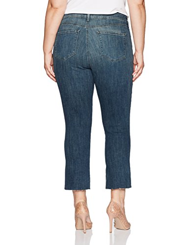 NYDJ Women's Plus Size Marilyn Straight Ankle Jeans, Desert Gold With Raw Hem, 20W