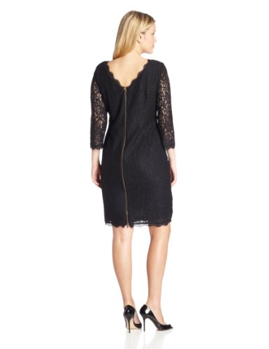 Adrianna Papell Women's Plus-Size 3/4 Sleeve Lace Dress, Black, 14W