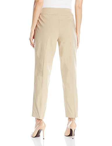 Alfred Dunner Women's Plus Size Medium Slim Leg Pant, Stone, 18W