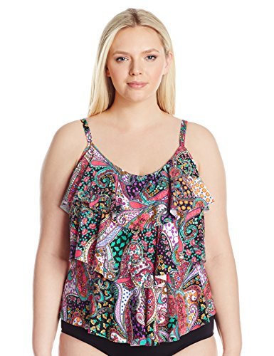 Kenneth Cole REACTION Women's Plus Size Gypsy Gem Paisley Tripled Tiered Tankini, Black, 1X