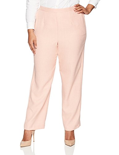 Alfred Dunner Women's Plus Size Proportioned Medium Solid Pant, Apricot, 18W