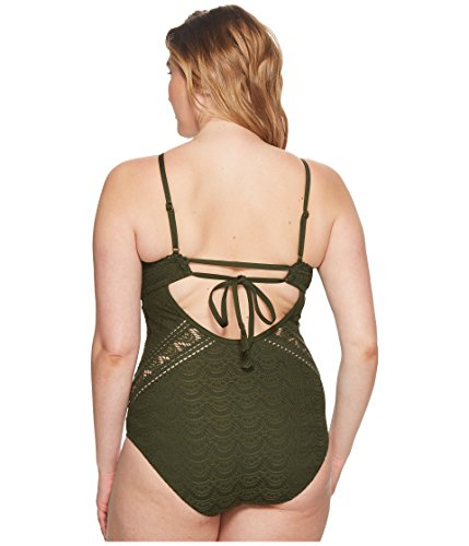 BECCA ETC Women's Plus Size Color Play High Neck One Piece Swimsuit, Bay, 2X