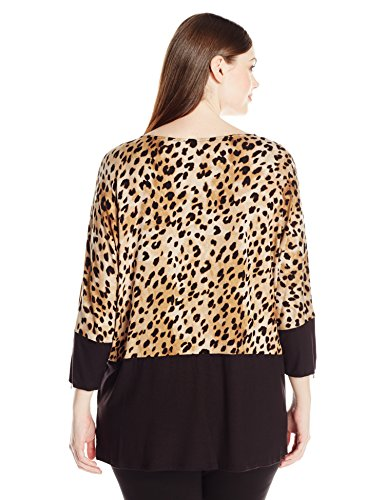 Calvin Klein Women's Plus-Size Printed Colorblocked Dolman Top, Black/Neutral, 2X