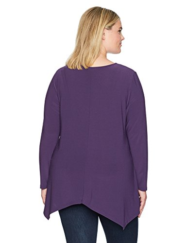 Jones New York Women's Plus Size V Nk L/Slv Handkerchief Hem P/o, Plum, 2X