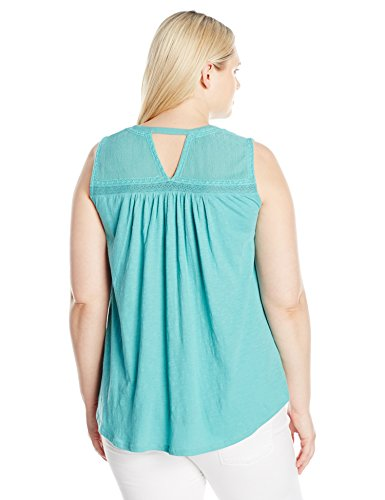 Lucky Brand Women's Plus Size Embroidered Pintuck Tank Top, Bristol Blue, 3X