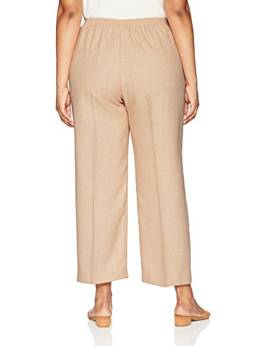 Alfred Dunner Women's Plus Size Proportioned Short Solid Pant, Almond, 22W