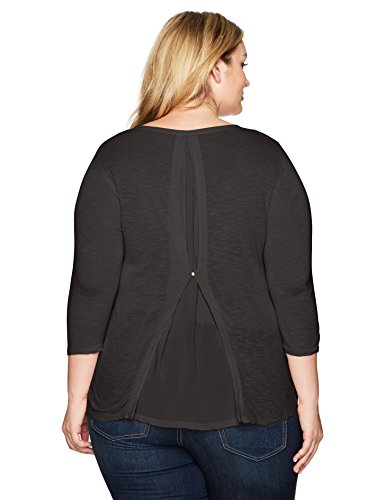 Lucky Brand Women's Plus Size Woven Mixed Top, Lucky Black, 1X