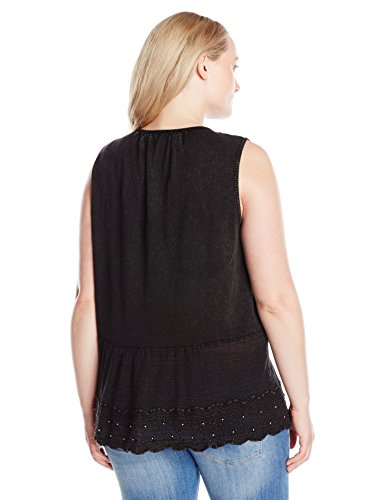 Lucky Brand Women's Plus Size Washed Studded Tank Top, Lucky Black, 2X