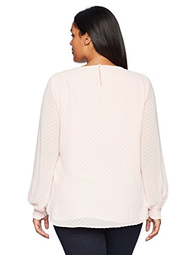 Nine West Women's Plus Size Solid Textured Long Sleeve Blouse, Rosebud, 3X