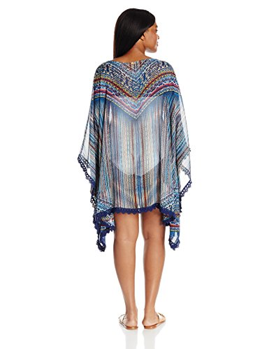 Jessica Simpson Women's Plus Size Dusty Road Denim-Inspired Lace Edge Chiffon Kimono Cover up, Peri Multi, 1X