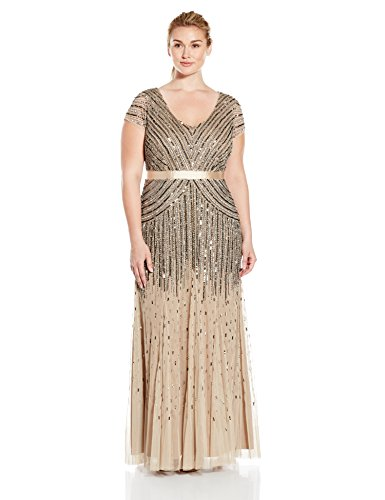 Adrianna Papell Women's Plus Size Floor Length Beaded Cap Sleeve V-Neck Dress, Nude, 16W